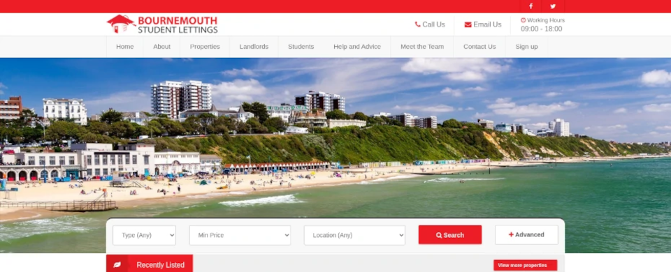 Screenshot Bournemouth Student Lettings